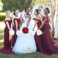 Burgundy Off Shoulder Bridesmaid Dress With Lace And Beads ...