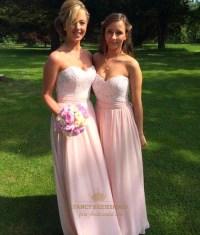 Blush Pink Strapless Lace Bodice Chiffon A-Line Long ...