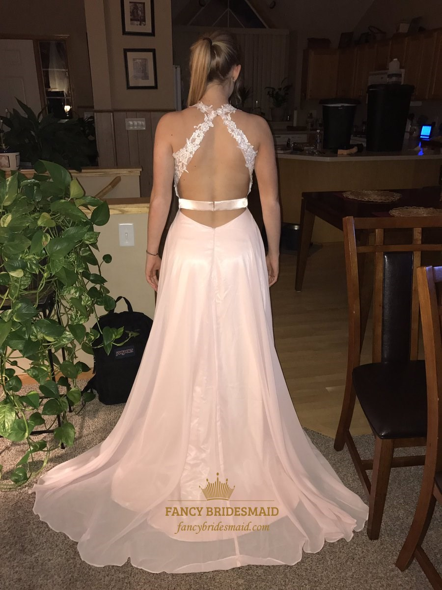 Blush Pink V Neck Lace Applique Open Back Prom Dress With