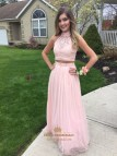 Long Pink Lace Two Piece Prom Dress