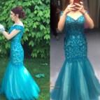 Off the Shoulder Mermaid Prom Dress Teal