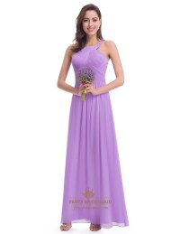 Lavender Sleeveless A-Line Ruched Bodice Chiffon Long ...