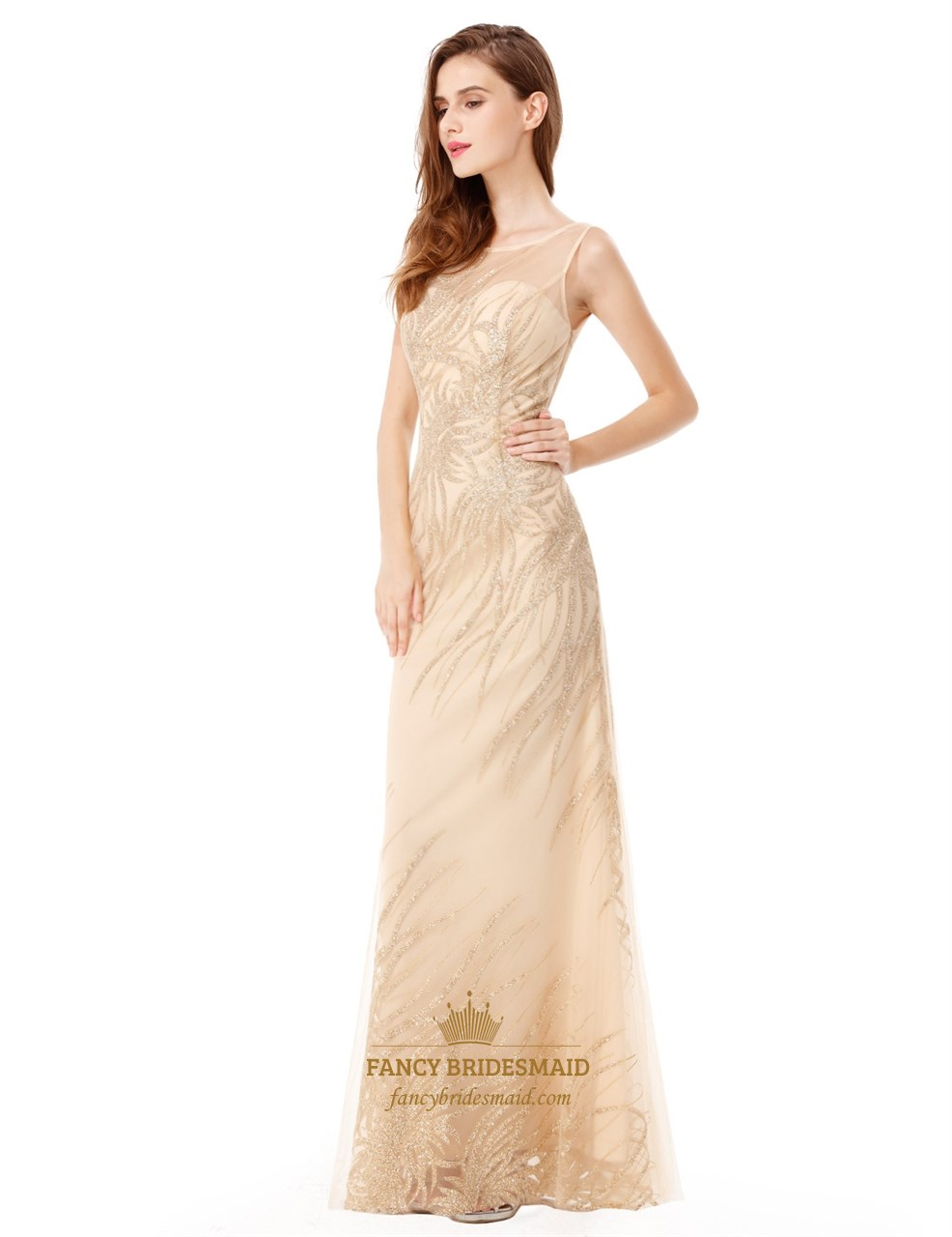 Light Champagne Sleeveless Floor Length Embellished