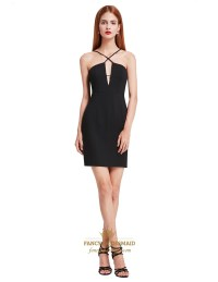 Elegant Black Spaghetti Strap Short Sheath Open Back ...