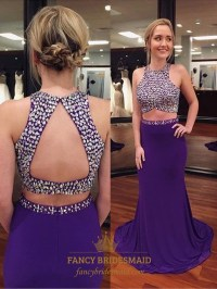 Purple Sleeveless Mermaid Two Piece Prom Dress With ...