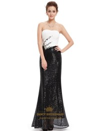 Black And White Strapless Sequin Sheath Prom Dress With ...