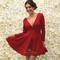 A Line Red V Neck Long Sleeve Short Prom Dresses With ...