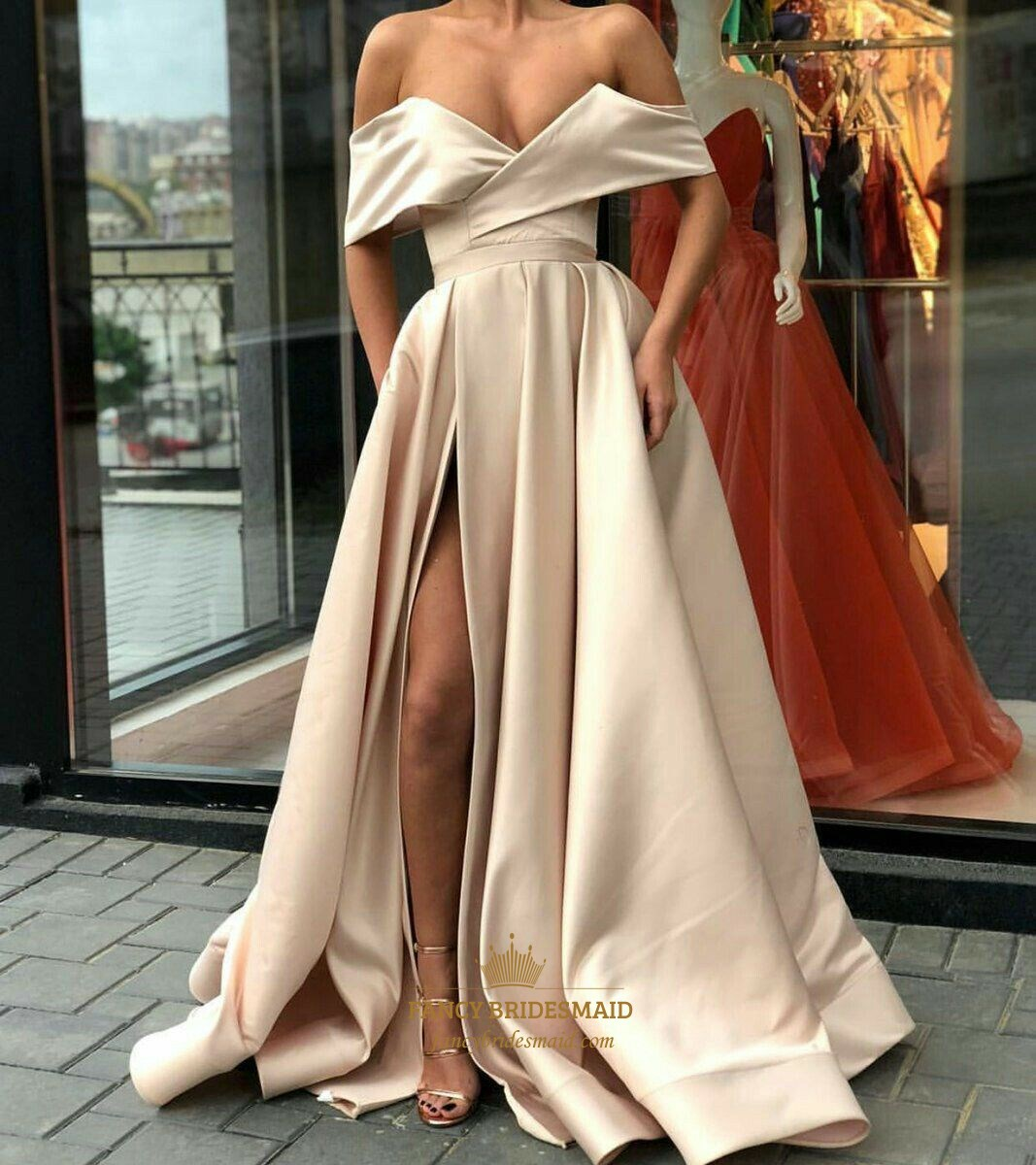 Champagne Off The Shoulder Sleeveless Satin Prom Dress