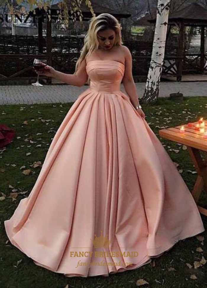 Pink Strapless Sleeveless Ruched Waist Satin Ball Gown Prom Dress  Fancy Bridesmaid Dresses