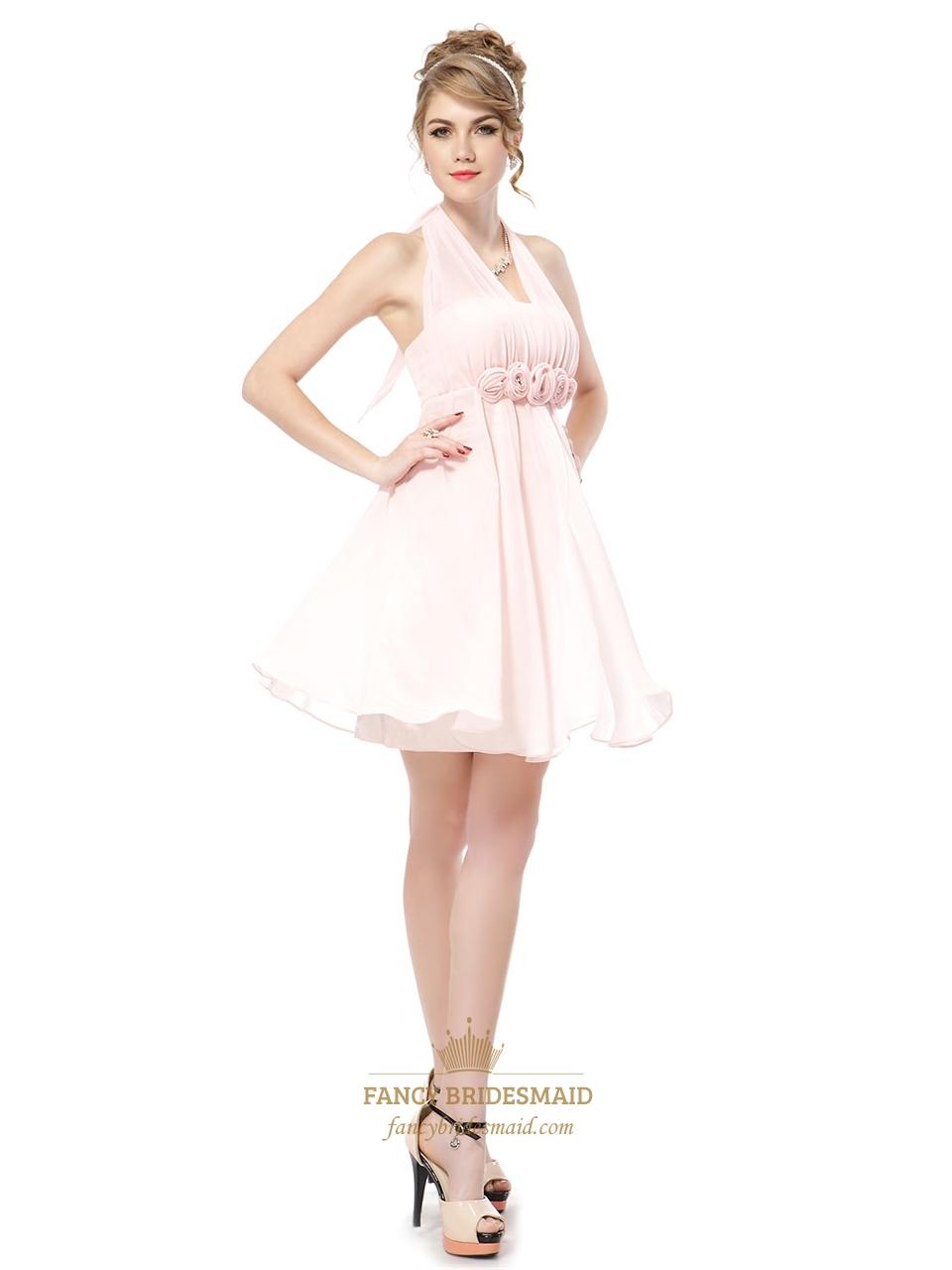 Light Pink Halter Bridesmaid Dresses,Petal Pink Junior