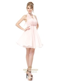 Light Pink Halter Bridesmaid Dresses,Petal Pink Junior