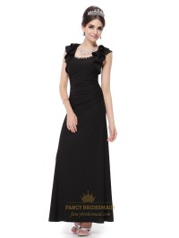 Black Long Dresses With Short Sleeves,Black Long Prom ...