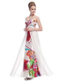 White Long Floral Printed Dress,Strapless Floral Maxi ...