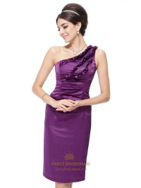 Purple One Shoulder Formal Dress With Ruffles,Short One ...