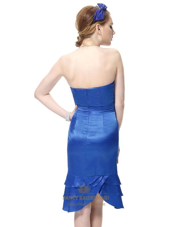 Short Blue Strapless Prom Dresses Cocktail Dress With Ruffle Hem Fancy
