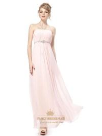 Very Light Pink Bridesmaid Dresses Chiffon Strapless,Long ...