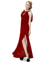 Long Dark Red Prom Dresses With Slits Up The Side,Long ...