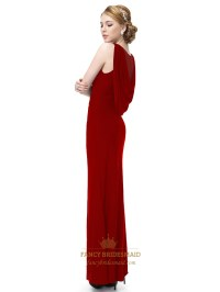 Long Dark Red Prom Dresses With Slits Up The Side,Long