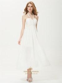 Long White Halter Sundress,White Halter Neck Summer Dress