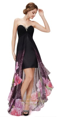 Black Sweetheart Neckline High Low Dress With Sheer ...