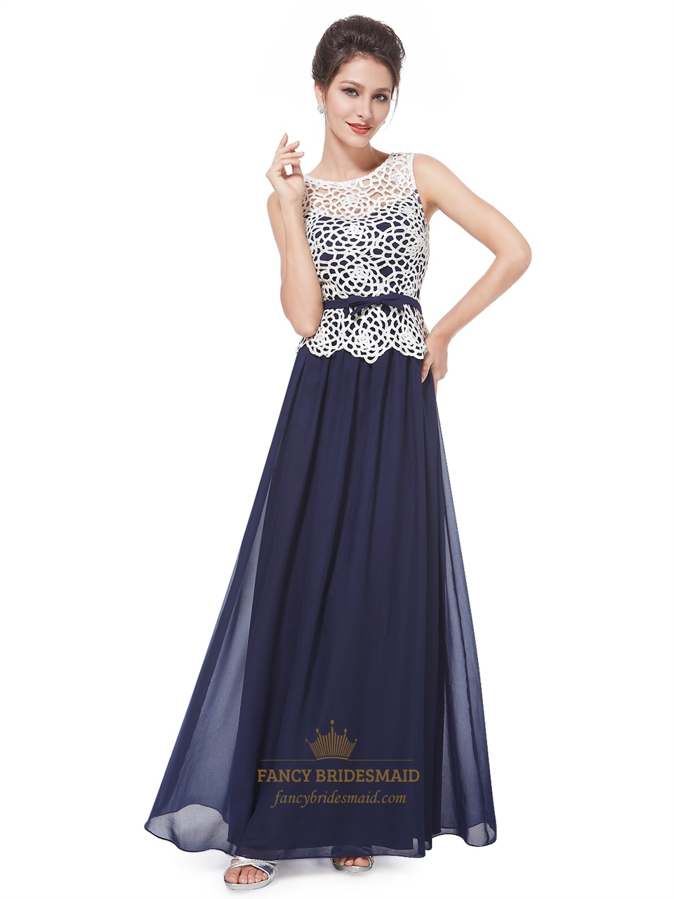 Blue Prom Dress With White Lace TopWomens Sleeveless