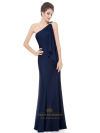 Navy Blue One Shoulder Bridesmaid Dress,Gorgeous Navy Blue ...