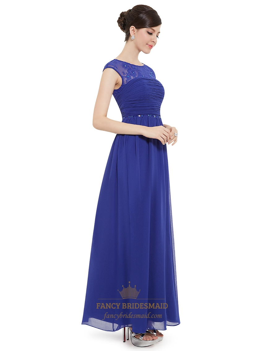 Sapphire Blue Illusion Sheer Lace Bodice Chiffon Skirt
