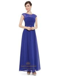 Sapphire Blue Bridesmaid Dresses With Straps