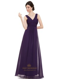 Purple Long Chiffon V Neck Sleeveless Bridesmaid Dresses ...