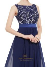 Illusion Sleeveless Lace Bodice Chiffon Navy Blue ...