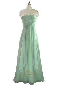 Mint Green Strapless Pleated Bodice Chiffon Bridesmaid ...