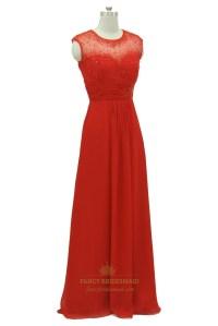 Red Lace Bodice Open Back Chiffon Long Prom Dress   Fancy ...