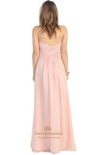 Pink Beaded Sweetheart Neckline Long Chiffon Bridesmaid ...