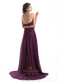 Grape Chiffon Halter Cut Out Back Prom Dresses With ...