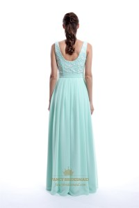 Mint Green Illusion Sleeveless Lace Bodice Bridesmaid ...