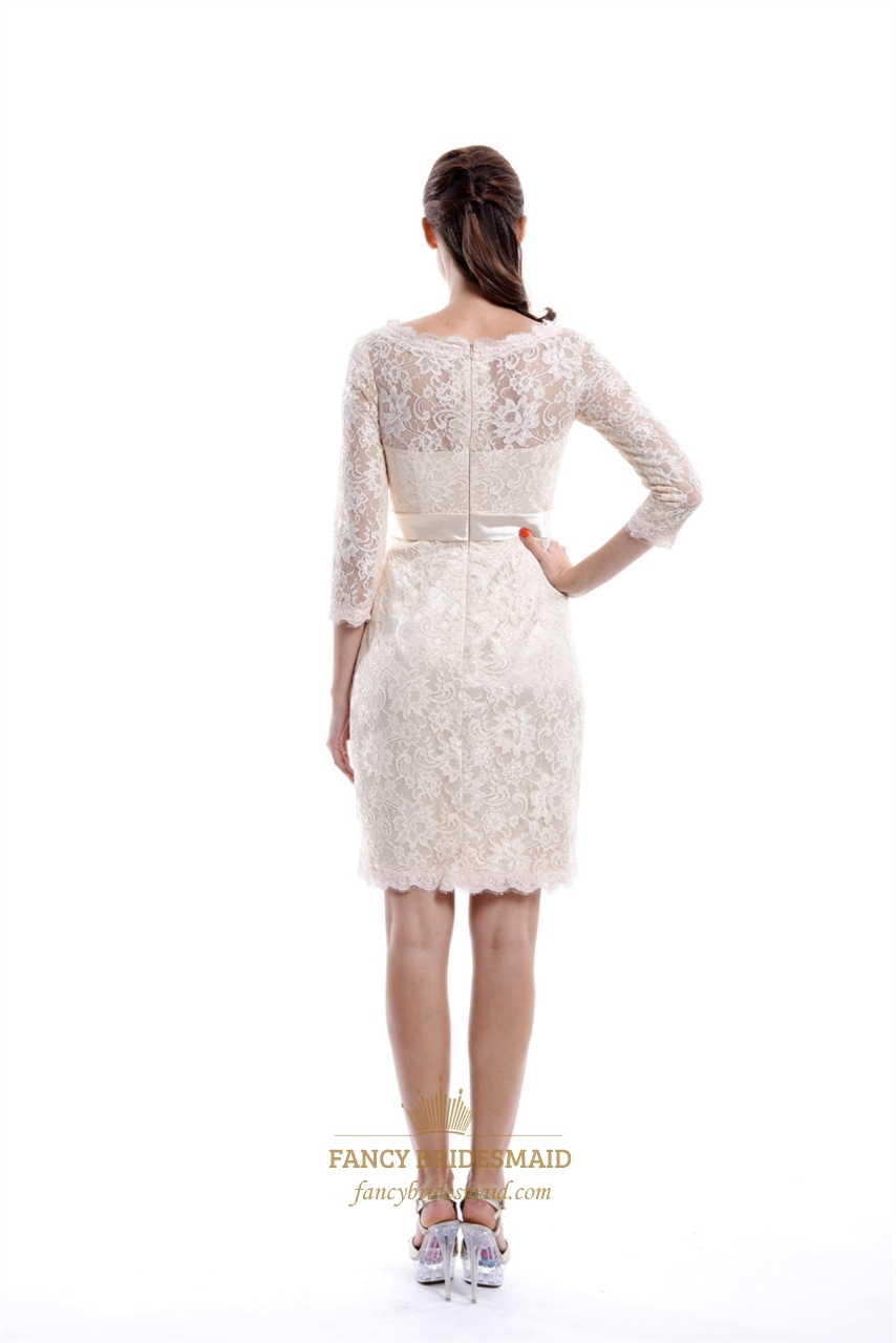 Champagne Lace Bridesmaid Dresses With Illusion Neckline And Sleeves  Fancy Bridesmaid Dresses