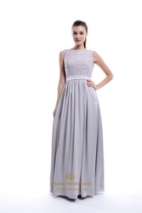 Light Grey Sleeveless Lace Top And Chiffon Bottom Long