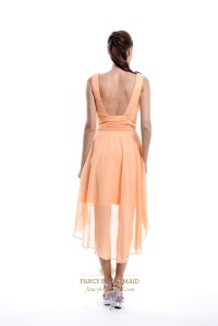 Peach Chiffon High Low Ruched V-Neck Sleeveless Short ...