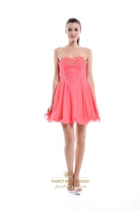 Coral Chiffon Short Embellished Strapless Bridesmaid Dress ...