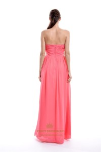 Coral A-Line Floor-Length Chiffon Strapless Ruffle ...