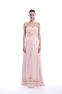 Light Pink Strapless Pleated Chiffon Bridesmaid Dress With ...