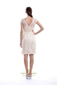 Champagne V-Neck Embellished Short Bridesmaid Dress With ...
