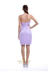 Lilac One Shoulder Lace Overlay Sheath Bridesmaid Dress ...