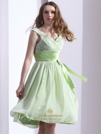 Sage Green Chiffon V-Neck Knee Length Bridesmaid Dress ...