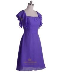 Purple Chiffon A-Line Knee Length Bridesmaid Dress With ...