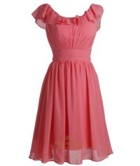 Coral Ruched Short Crinkle Chiffon Bridesmaid Dress With ...