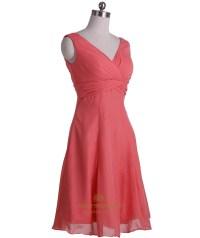 Coral Chiffon Empire Waist A-Line V-Neck Sleeveless Short ...