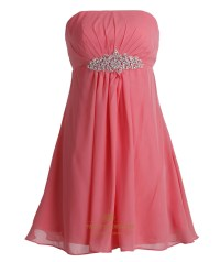 Coral Chiffon Empire Strapless Short Bridesmaid Dresses ...