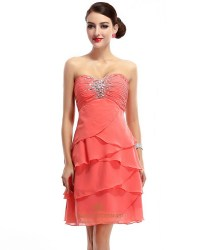 Coral Beaded Strapless Short Chiffon Bridesmaid Dress With ...