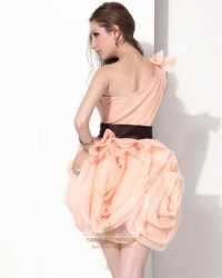 Peach Short One Shoulder Organza Bridesmaid Dress With ...